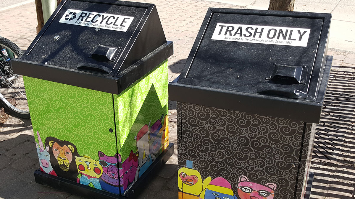 Carbondale's Public Trash & Recycling Containers